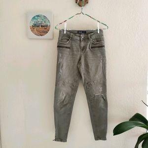 Zara 💜 Basic Moto Skinny Jeans Distressed Grunge